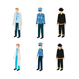 Set occupations police, firefighters and doctors
