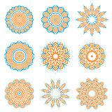 Round Geometric Ornaments Set Isolated
