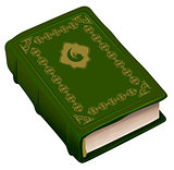 Green book Koran. Symbol of religion Islam