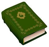Green book Koran. Symbol of religion Islam