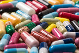 Heap of colorful drugs and pills