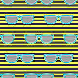 Pop sunglasses retro seamless pattern in neon yellow and black.