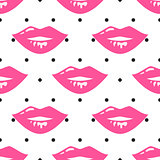 Pin up girl style wet lipstick lips seamless vector pattern.
