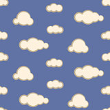Night sky clouds seamless vector pattern.