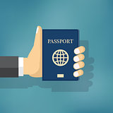 Businessman Hand Hold Passport.