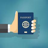 Businessman Hand Hold Passport.