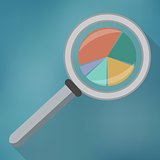 Magnifying glass icon and pie chart.