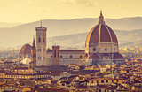 Retro-styled view to Santa Maria del Fiore cathedral in Florence