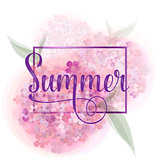 Vector lettering Summer with decorative ribbon