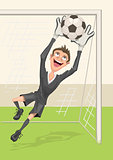 Football goalkeeper catches ball. Penalty kick in soccer