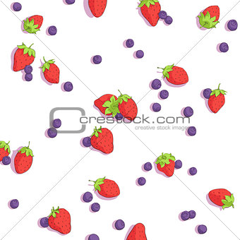 bright strawberries and blueberries