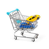 buy new car concept, two cars in a shopping cart
