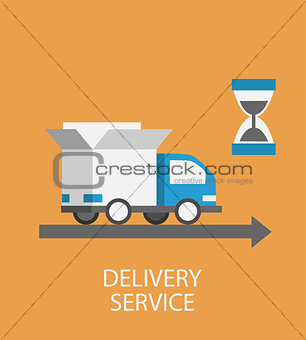 Flat style  delivery service concept.