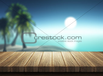 3D render of decking looking out to a tropical landscape