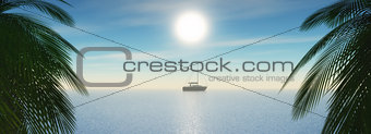 3D tropical landscape with yacht sailing in the ocean