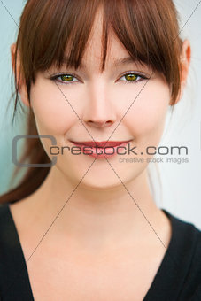 Beautiful Young Woman Girl with Green Eyes