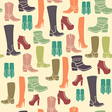 Seamless pattern with flat icons of womens shoes