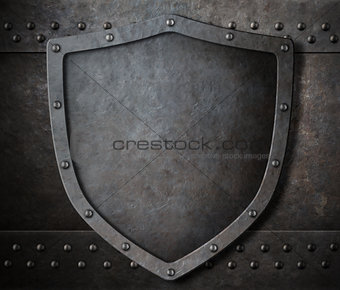 old metal shield over armour background with rivets 3d illustration