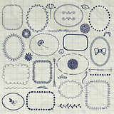 Vector Decorative Pen Drawing Borders, Frames, Elements
