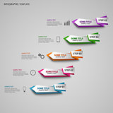 Info graphic with colored folded design pointers template