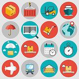 Logistic flat icons set
