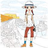 Vector girl traveler with photo camera in port