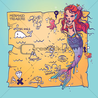 A Mermaid and Treasure Map