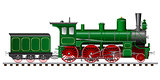 green steam locomotive with tender