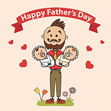 fathers with children baby in their arms. Element cards for Father Day. Vector illustration