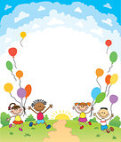 children are jumping ob summer background bunner cartoon funny vector character. illustration