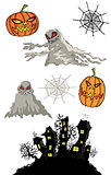 halloween pumpkins cartoon ghost and haunted castle