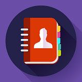 Address phone book icon, notebook icon. Flat design style