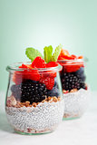 Chia seeds vanilla pudding and berries