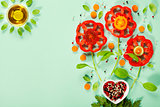Cute flowers made of fresh organic vegetables