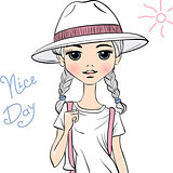 Vector girl traveler in white hat