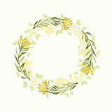 Vector watercolor round floral frame. Hand draw herbal border