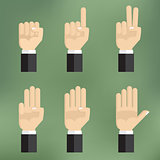 Set of counting hand sign from one to five.