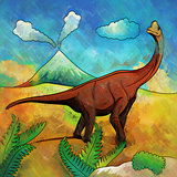 Dinosaur in the habitat. Illustration Of Brachiosaur