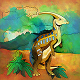Dinosaur in the habitat. Illustration Of Parasauroloph