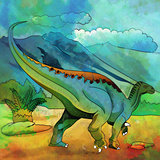 Dinosaur in the habitat. Illustration Of Plateosaur