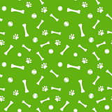 dog paw print, bone and ball seamless pattern