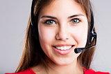 contact us says this beautiful call center girl