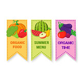 Fruits and vegetables bright badges.