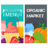 Organic food bright banners.