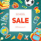 School supplies sale.