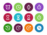 Time and Clock circle icons on white background.