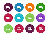 Shopping Trucks circle icons on white background.