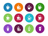 Coffee cup circle icons on white background.