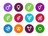 Gender identities circle icons on white background.