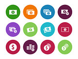 Dollar Banknote circle icons on white background.